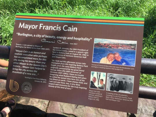 The Mayor Francis Cain plaque in Battery Park.