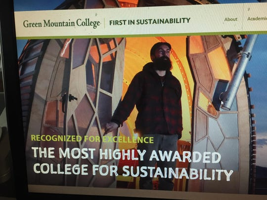 The Green Mountain College homepage from early in 2018 touts the schools record on sustainability.