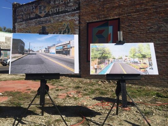 A before and after rendering of the McNichols corridor. The area is among a couple dozen targeted for revitalization.