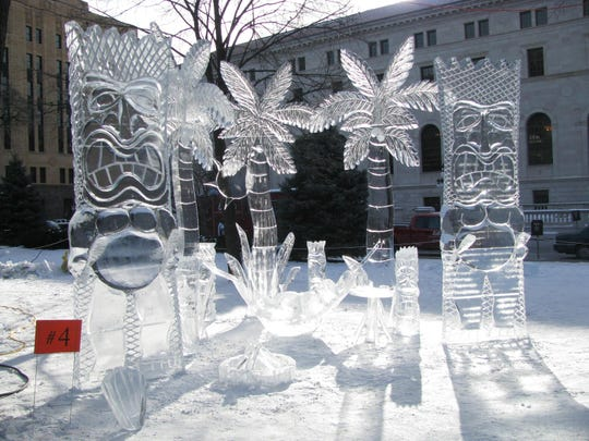 Ice sculptures will be part of the ice carving competition at the Saint Paul Winter Carnival in St. Paul, Minn., which runs Jan. 25 to Feb. 10, as they visit for Super Bowl LII.