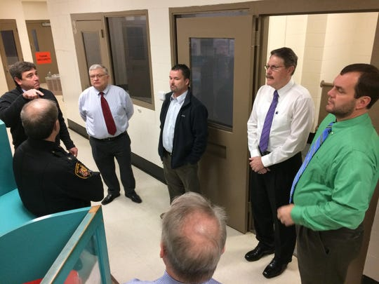 The Ross County Commissioners are shown here during a January 2017 tour of the Ross County Jail to discuss design plans for the facility's renovation project.