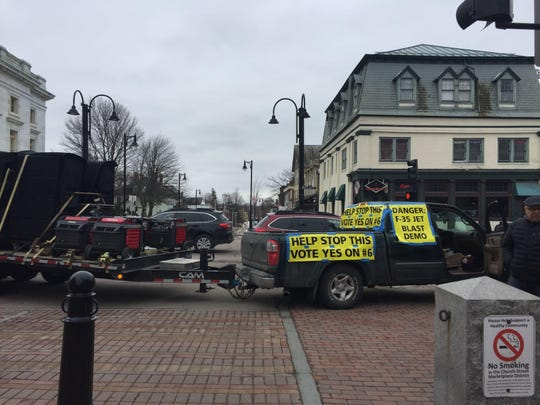 A truck blasts jet noise at Church and Main streets on Saturday, March 3, 2018, in Burlington to demonstrate the impact of the F-35.