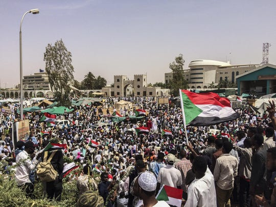 Demonstrators gather Friday in Sudan's capital of Khartoum. Protesters have rejected the military's declaration that it has no ambitions to hold power for long.