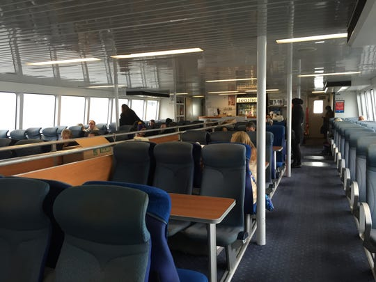 The Seastreak Ferry has indoor and outdoor seating as well a full-service bar.