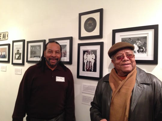 "Billy Brown and Ronald Coleman of the Broadways view their picture at the ""Asbury Park's Springwood Avenue Harmony: Celebrating The West Side's Unique Musical Legacy,"" now through Monday, Jan. 19 at the Heaven Art Gallery on Cookman Avenue in Asbury Park."