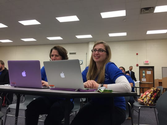 "Tracey Grimaldi, left, and Katy Ginther, both music teachers in the Keansburg school district, are trained on the ""whole child"" initiative during professional development."