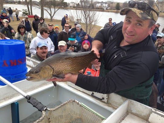 Jeff Mancini, owner of Musky Trout Hatcheries, holds a large tiger trout.