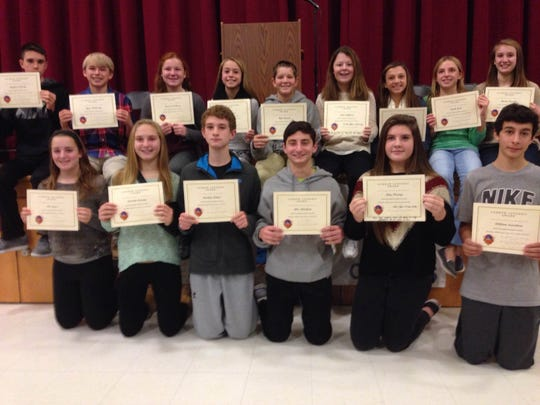 At its Nov. 26 athletic awards assembly, Readington Middle School announced the recipients of the Fall 2014 Levendis Award. This award is given to exceptional athletes in each sport who demonstrate leadership, sportsmanship, hustle, commitment, spirit and positive attitude and who display the most service to the sport. Award winners were: back row (from left) Matthew D'Ovidio, Ryan McCloskey, Madison LaMarca, Jessica Ribeiro, Kyle Barrett, Sofia LaMarca, Alyssa Magliaro, Sarah Loew and Rachel Besecker; front row (from left) Ella James, Danielle Cornetta, Bradley Rodger, Alex Kiledjian, Shay Fleming and William Sauerborn. Not pictured: Laurel Kurth and Janine LeChien. The award is named for Andrew Levendis, who was the first Athletic Director at Readington Middle School when the school opened in 1961 and started the sports program at the school.