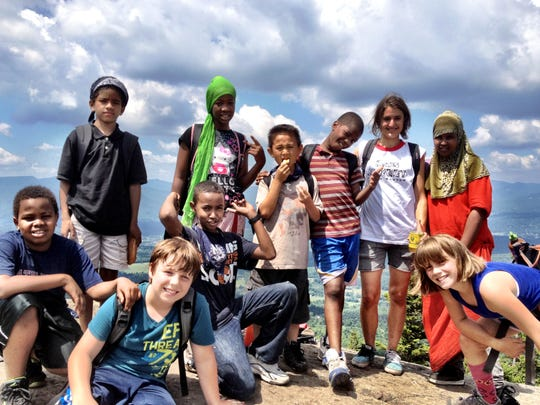 Children go on a hiking trip with the King Street Center: Leo Moran, Misky Noor, Ahmed Adan, Jeramiah Parsons, Chit Sa Maung, Khalid Dahir, Mowlid Abdi, Rotha Ibrahim, Makayla Bonilla