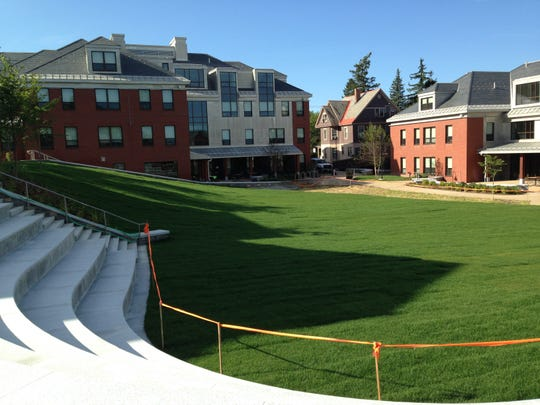 Looking south from the top of the amphitheater, Valcour Hall is straight ahead and Butler Hall is at right.