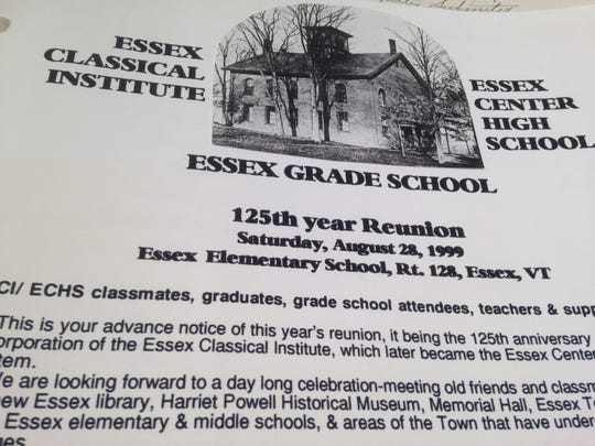 A photo of the Essex Classical Institute appears on their announcement of their 1999 reunion.