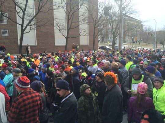 The starting line of the New Year's Day First Run outside Memorial Auditorium on South Union Street in Burlington. About 800 people started 2015 with a 5-kilometer run through downtown.