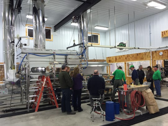 The gleaming new evaporator at Branon Family Maple Orchards in Fairfield during Maple Open House Weekend.
