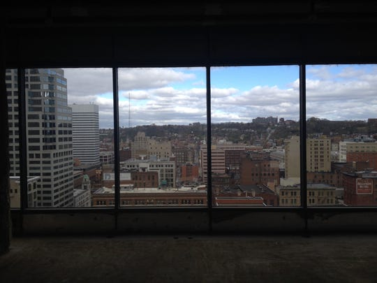 A view from one of the penthouse units at the AT580 development at Sixth and Walnut streets in Downtown Cincinnati.