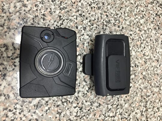 The Cincinnati Police Department is looking at two possible body cameras: the VieVu L3 (right), and the TASER AXON.