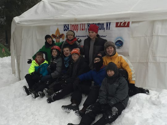 Troop 727 camps in Canadian snow. Front row, from left: Jarrett Hill, Joe Pettit, Patrick Goodwin, Ben Bonfilio, Ethan Barrilleaux and Christian Nerz. Second row: Tad Drees, Owen Murphy, Xander Cummings and Spencer Adkins.