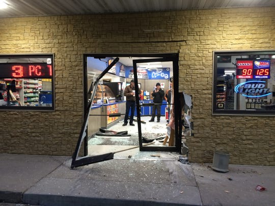 A vehicle crashed into the Good and Quick convenience store in Nevada on Thursday morning, nearly striking several people inside.