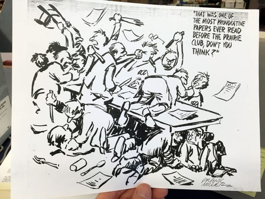 Late Des Moines Register editorial cartoonist Frank Miller once drew this depiction of a particularly raucous meeting of The Des Moines Prairie Club.