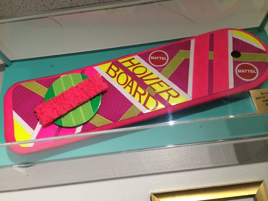 A Hoverboard prop from the film on display at Totally 80s Pizza in Fort Collins