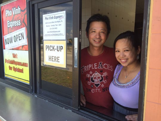 Tammy Tran and Joseph Vu, owners of Pho Vinh Express in Fort Myers.