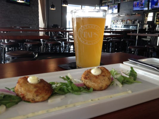 Taps Beer and Crab Cakes.JPG