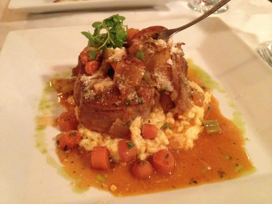 Osso bucco Milanese atop a bed of saffron risotto from Sasse's in Fort Myers.