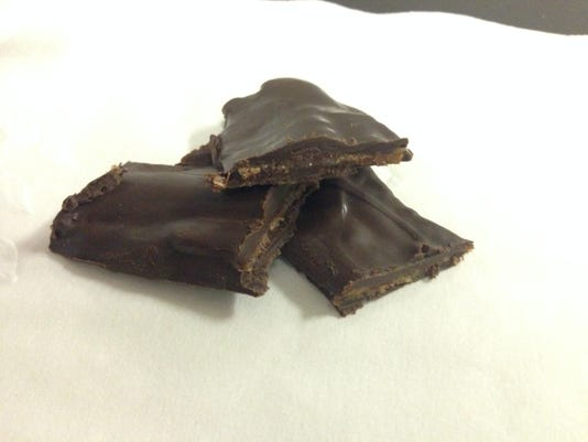 Pieces of chocolate covered bacon (BEST)