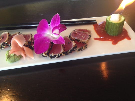 The Tuna Volcano appetizer from The Pickled Parrot Island Grill
