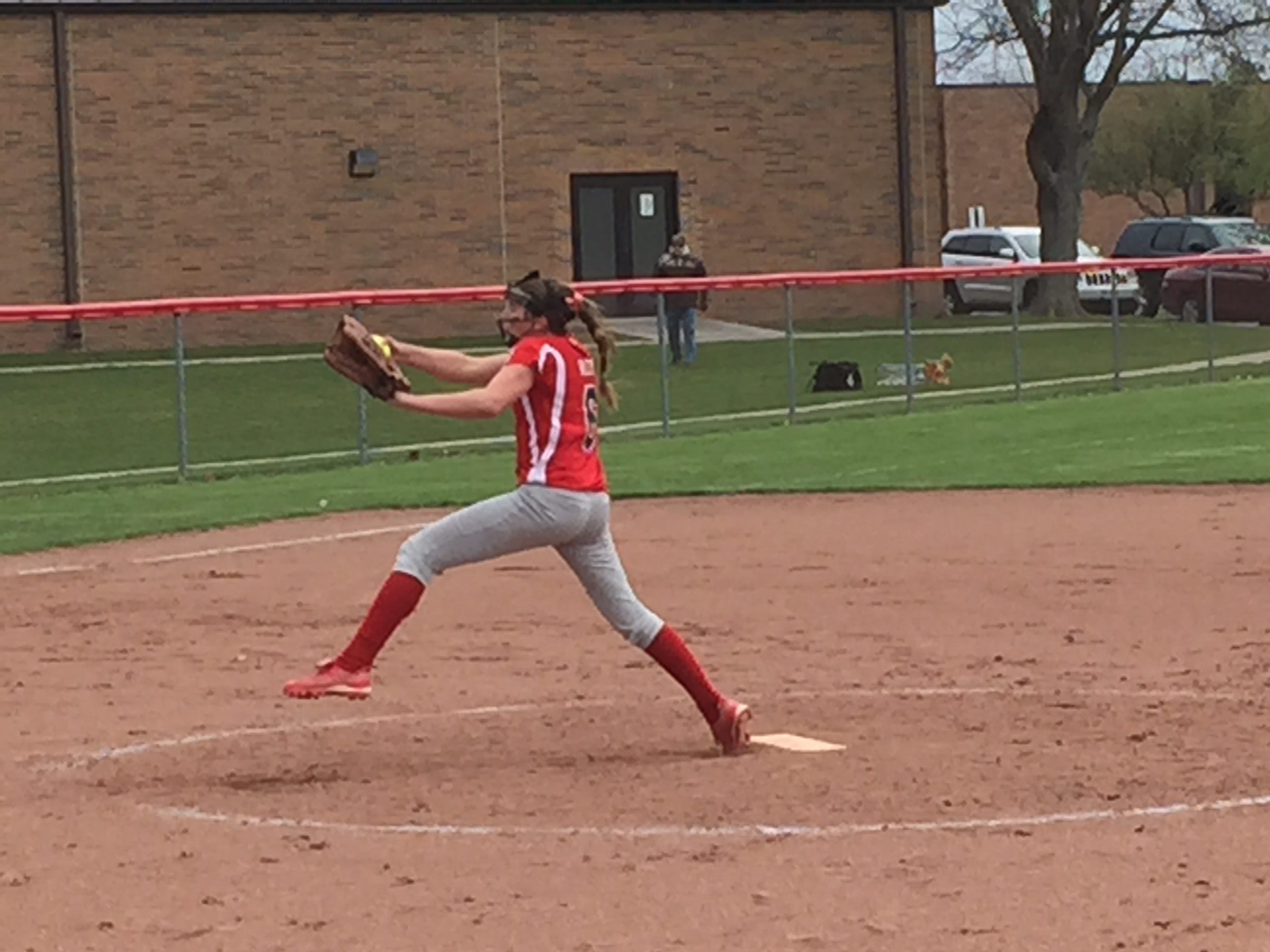 Oak Harbor's Ashley Riley pitches during game two of Saturday's Rocket Invitational.