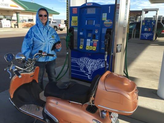 motorist Shannon Nelson at pump