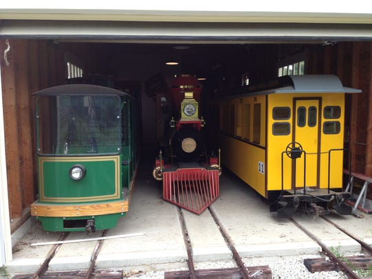 Parts of the donated miniature train are shown at Paul Woelbing's family home near Milwaukee.