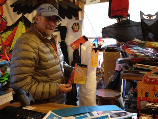 "Toby Schlick ordered one of his favorite kites, a 40-foot ""spirit man"" from a kite maker in England. He still enjoys kite flying after 38 years in the business."
