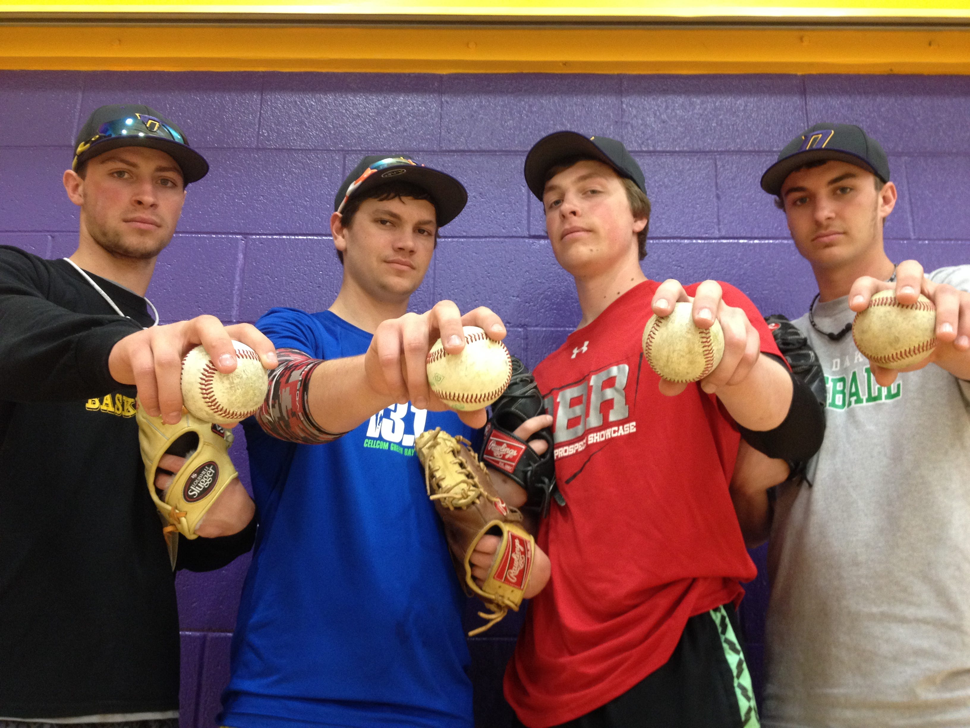 The Denmark baseball team features four college recruits. From left, Tanner Umentum, Derek Van Pay, Jack Collins and Riley Pelischek are in the rotation.