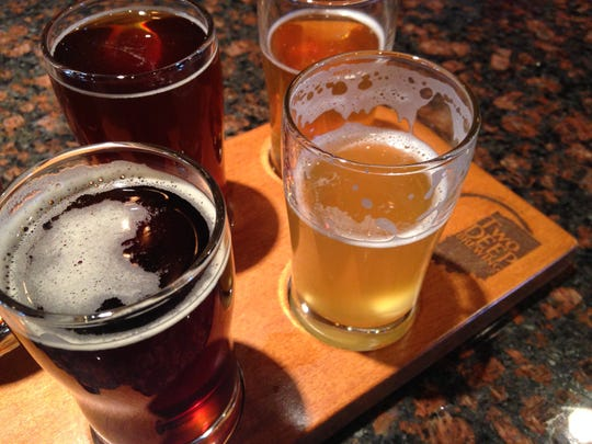 """A flight of beer at TwoDEEP Brewing in Indianapolis. Owner, Andy Meyer, started by home brewing. He was two batches in when he realized he was hooked. That's where the name """"Two Deep"""" comes from."""