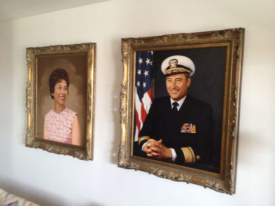 Al and Patt Sackett's portraits are seen in their Melrose Meadows home. They have been married 67 years.