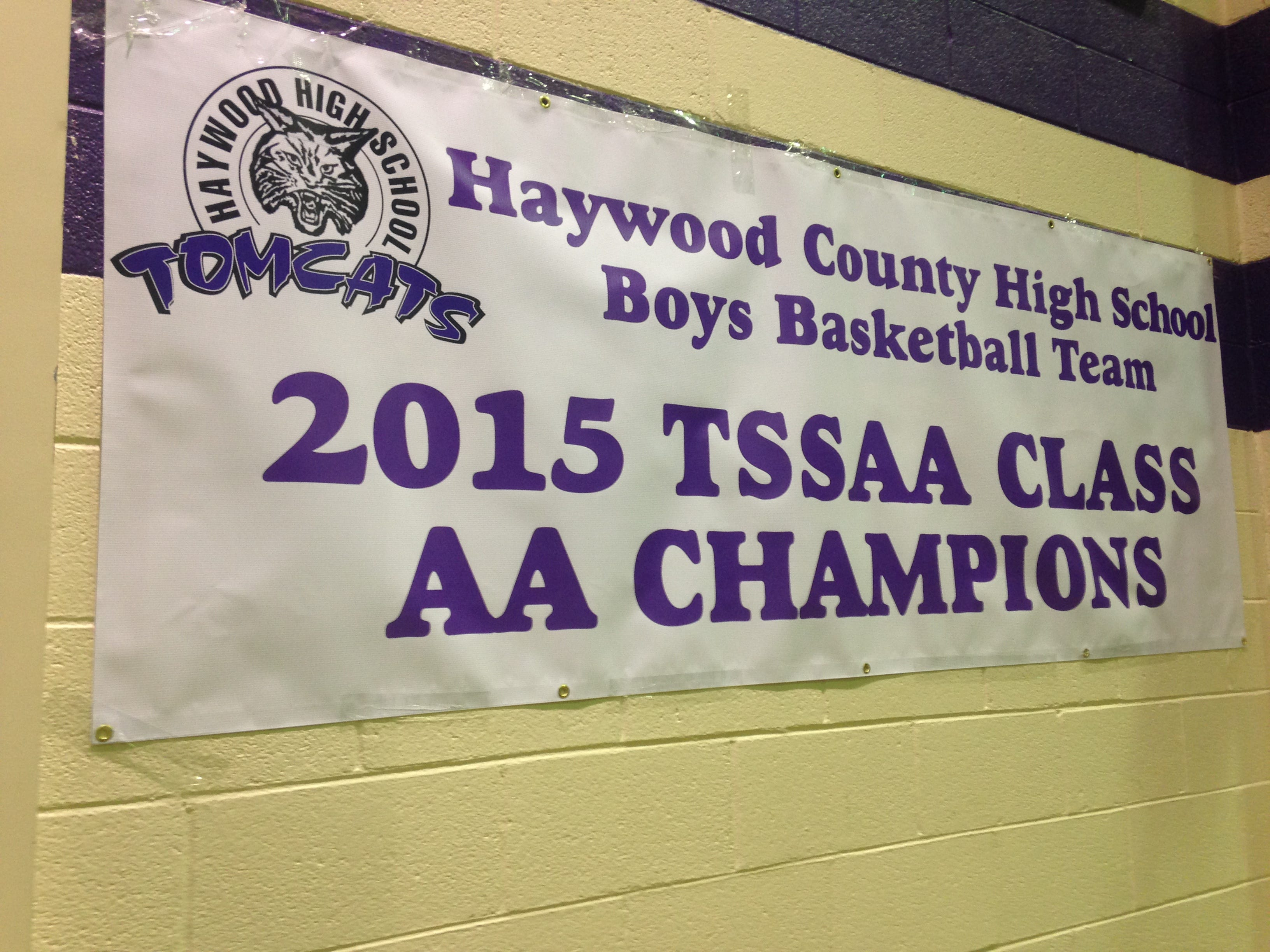 A banner recognizing Haywood's 2015 state championship was displayed on the gym minutes before the celebration Tuesday night.