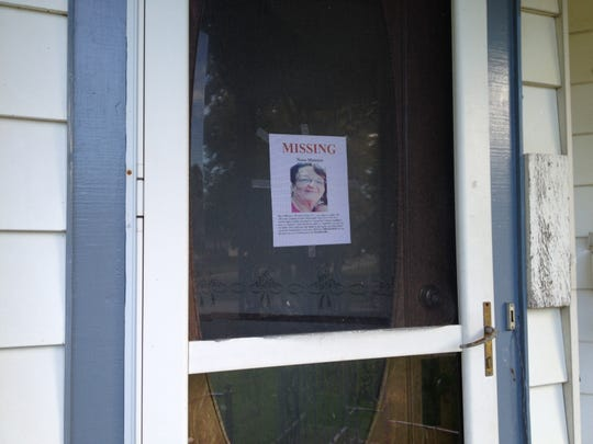 Nena Metoyer, the mother of Teresa Jarding, was last seen on Aug. 5. A missing person notice is posted outside Jarding's Fowler residence.