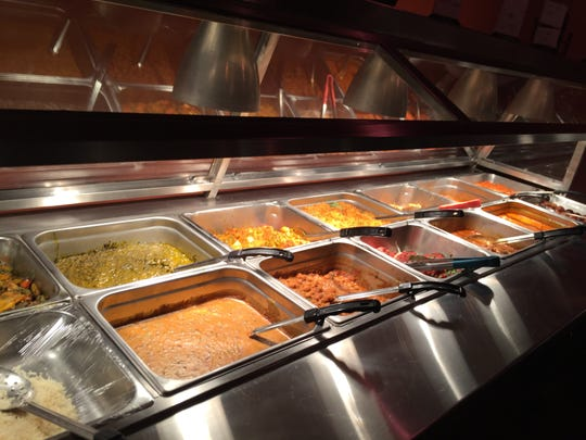 The buffet is large and varied, with options for both vegetarians and meat eaters.
