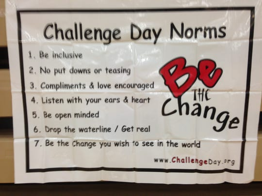A sign explains what Challenge Day is all about.