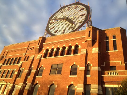 An iconic clock sits atop the former Colgate-Palmolive plant in Clarksville, Ind., which could undergo redevelopment.