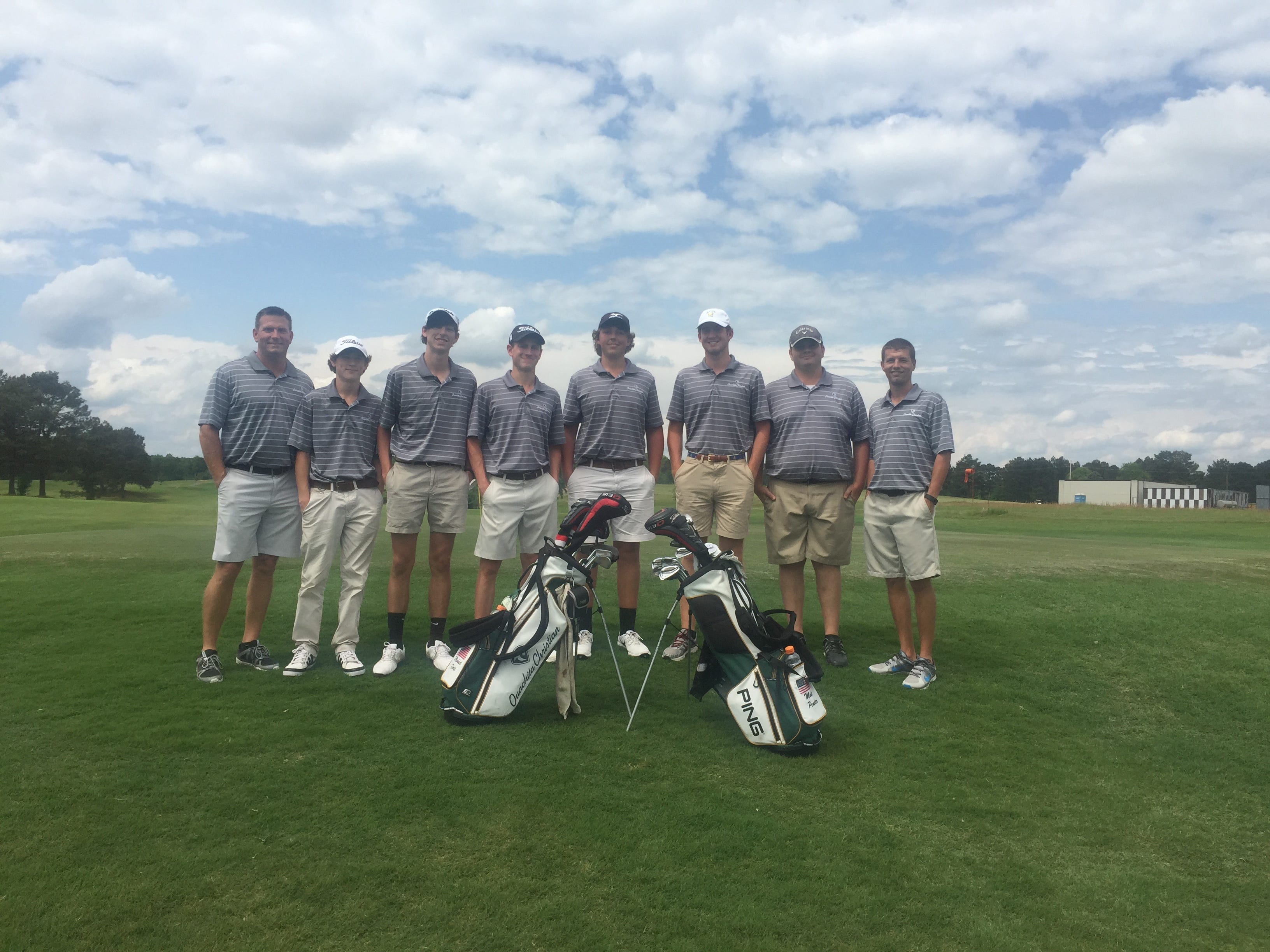 Members of the OCS boys golf team pose after winning the district championship.