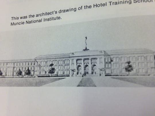 An architect's rendering of hotel/restaurant training school proposed to be built on the grounds of what is now Ball State University