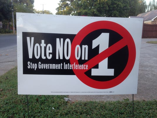Vote No on 1 sign