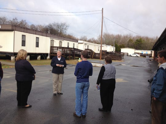 John Colemon Elementary Principal Ann Haley held a site visit for the Rutherford County Board of Education and members of the County Commission about the 15 portables in use at the north Smyrna school in December 2014.