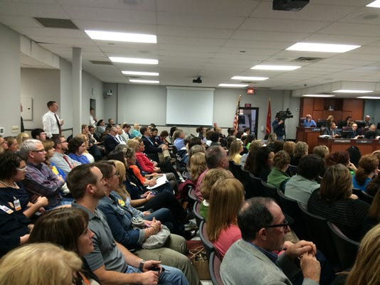 Full house at the special meeting called at the WCS board meeting 10152014.JPG