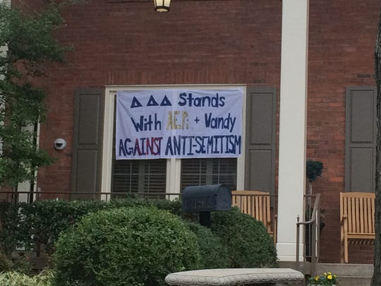 A sign outside the Tri Delta house at Vanderbilt University condemns anti-Semitism.