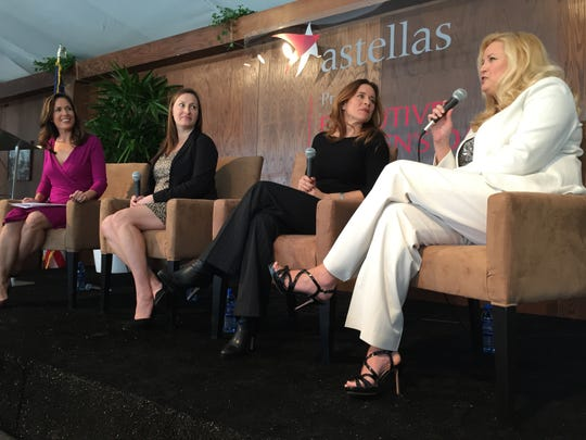 L to R: Moderator Brooke Beare, evening anchor, CBS Local 2 and panelists Rain Henderson, CEO, Clinton Health Matters Initiative; Lisa Houston, President & CEO, FIND Food Bank and Denise Wilson, Founder, President & CEO, Desert Jet chat during Executive Women's Day at the Arnold Palmer Private Course at PGA West on Tuesday, Jan. 20, 2015.