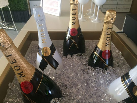 Champagne chills on ice at the Moët & Chandon terrace bar at the Indian Wells Tennis Garden.