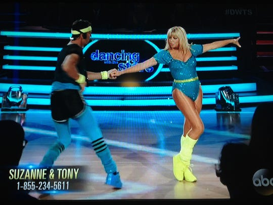 """A screenshot of Palm Springs resident Suzanne Somers as she appeared on """"Dancing With The Stars"""" Monday, where she danced the cha-cha with partner Tony Dovolani."""
