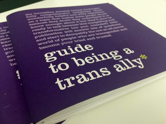 An educational pamphlet is laid out at the offices of Equality California in downtown Palm Springs.